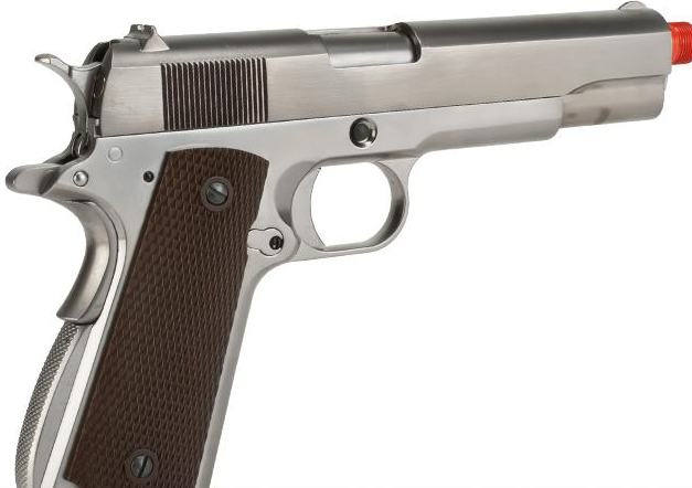 Pistola de Airsoft a Gás 1911 GI, GBB, Full Metal, Blowback Silver WE