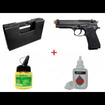 KIT Pistola de Airsoft Spring M92 KWC 6mm + Maleta + BBS 12 GR 1000 Unidades + Silicone