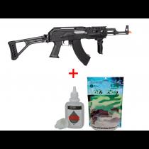 KIT Rifle de Airsoft AK47 Tactical FULL METAL CYMA CM039U + BBKING 0,20 Gramas + Silicone