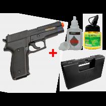 KIT Pistola de Airsoft Spring P226 KWC 6mm + Maleta + BBS 12 GR 1000 Unidades + Silicone